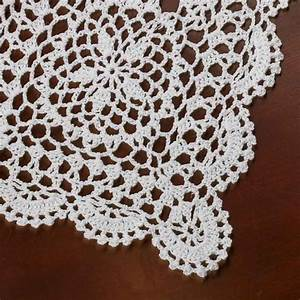 Rectangular White Crocheted Doily - Crochet and Lace