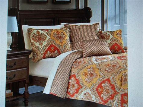 king size quilt set goldburnt orange paisley
