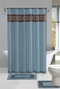 Contemporary bath shower curtain 15 pcs modern bathroom for Bathroom shower curtain and rug set