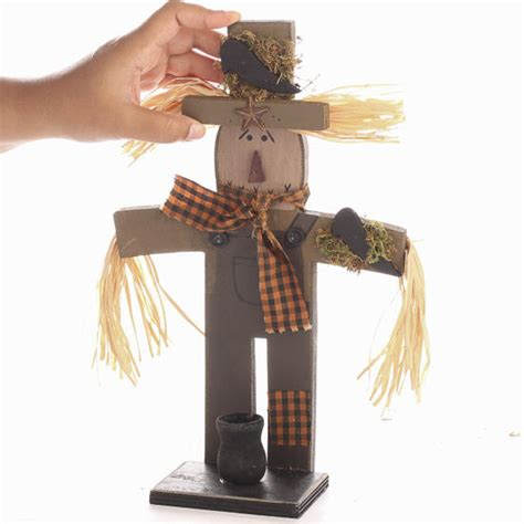 Primitive Wooden Scarecrow Candle Holder  On Sale