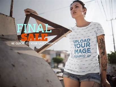 Woman Ad Wearing Tee Young Shirt Template