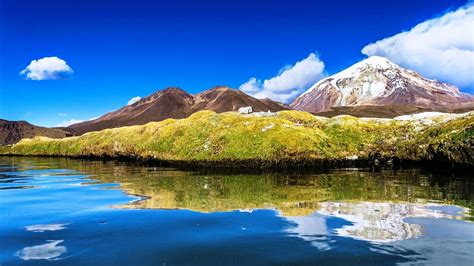bolivia lake mountain water clouds snowy peak nature