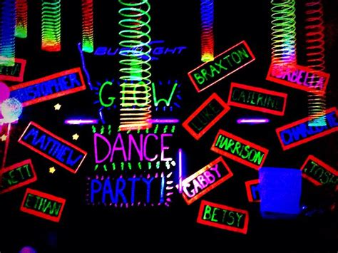 glow party decorations black paper with fluorescent paint