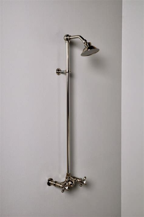 Exposed Wall Mount Shower Set with Cross Handles