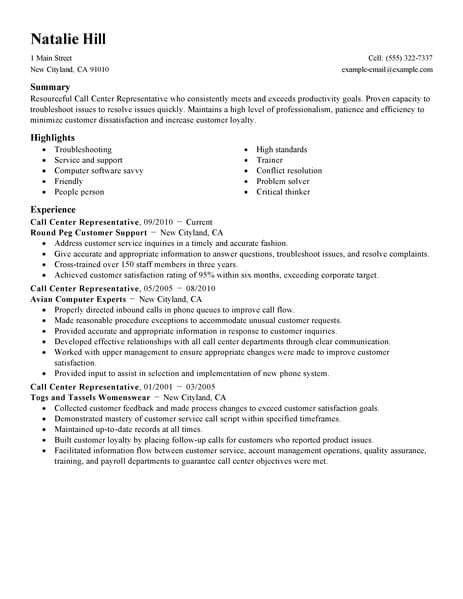 simple call center representative resume  livecareer