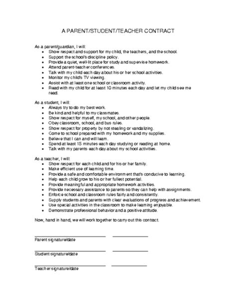 Student Contract Template by Parent Student Contract Template Education World