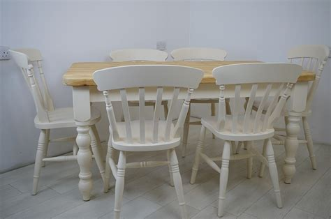 Pine Farmhouse Table and 6 Beech Slat Back Chairs Painted