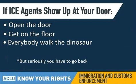 Walk The Dinosaur Meme - aclu gives illegals some great advice everybody walk the dinosaur know your meme