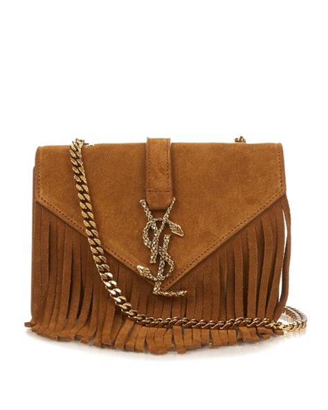 saint laurent monogram small fringed suede cross body bag