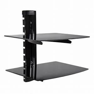 2 Tier Dual Glass Shelf Wall Mount Bracket Under TV ...
