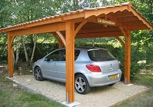 Abri Voiture En Bois : abri voiture de qualit en bois et tuiles robert l glise 33 ~ Nature-et-papiers.com Idées de Décoration