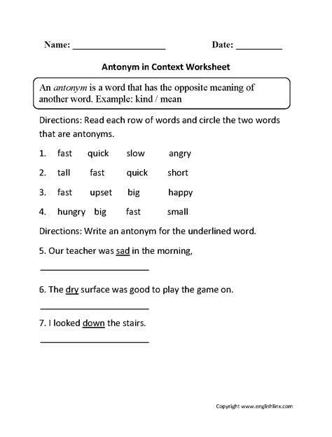 free printable synonyms and antonyms worksheets pdf