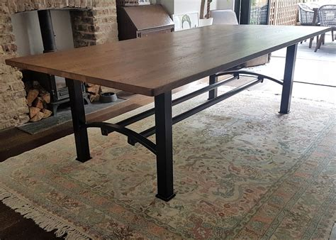 oak and steel dining table industrial based dining tables from recycled steel and