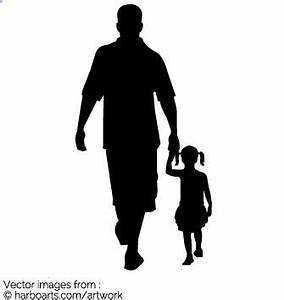 Download : Dad and girl walking silhouette - Vector Graphic