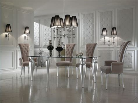 black and white dining room decor with glass top