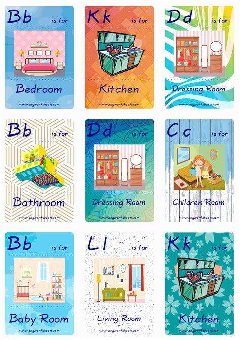 rooms   house esl printable english flash cards