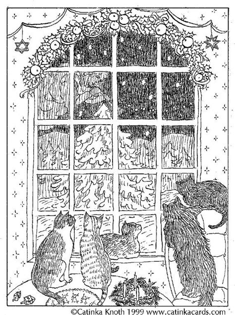 cat christmas card xmas coloring notecard night window  ink drawing printable digital