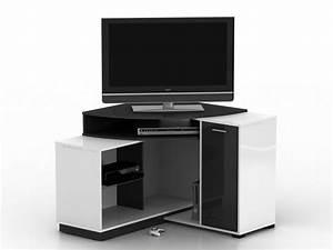 Meuble Angle Tv : meuble tv d 39 angle amael avec rangements blanc ou ch ne ~ Teatrodelosmanantiales.com Idées de Décoration