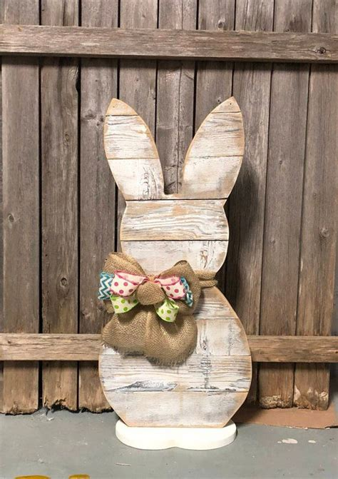 white wash wood standing easter bunny farmhouse bunny