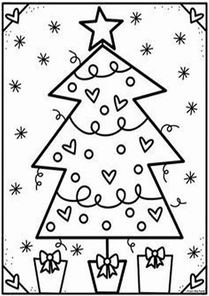 Christmas Coloring Tree Pages Club Pond Easy