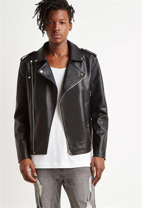 lyst forever 21 faux leather moto jacket in black for men