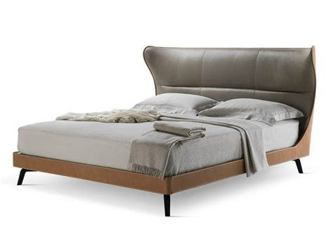 Tanned Leather Double Bed Mamy Blue Bed By Poltrona Frau
