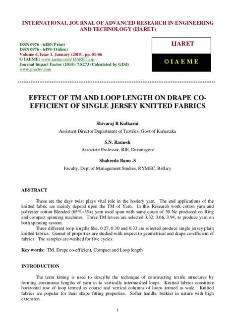 drape coefficient effect of tm and loop length on drape co efficient of