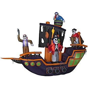 amazoncom gemmy halloween lighted pirate ship inflatable