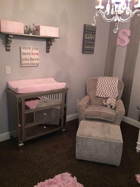 gray white  pink nursery project nursery