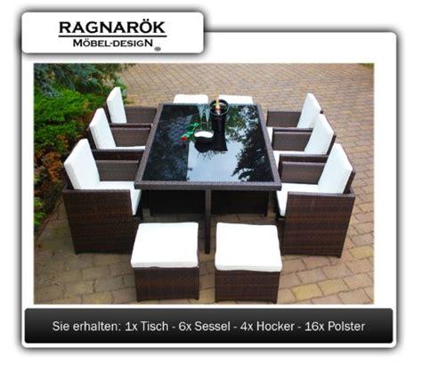Gartenmöbel PolyRattan Essgruppe Tisch mit 6 Stühlen & 4