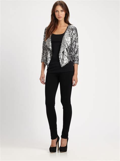 bags cropped sequin jacket  silver lyst