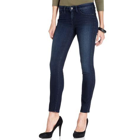 lyst guess jeans brittney skinny darkwash petite  blue