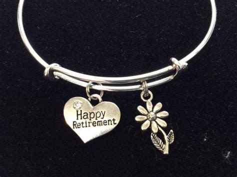 Happy Retirement With Silver Daisy Charm Bracelets Adjustable Bangles Disney Gifts For 10 Year Old Bridal Second Marriage Redditgifts Advice Luxury Inc Thank You Tennis In Bulk How Does Work Designer