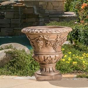 Large, 21, U0026quot, Brown, Stone, Roman, Decor, Outdoor, Garden, Urn, Planter, Flowers, Pot4