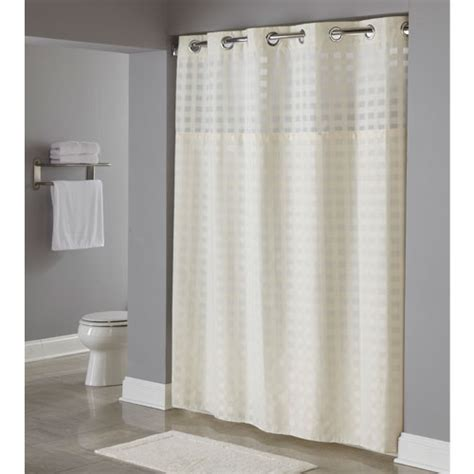 hookless shower curtain hookless 174 shimmy square polyester shower curtain w it s a snap replaceable liner 71x77 beige