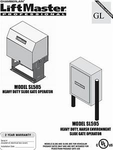 Liftmaster Heavy Duty Gate Operator Sl585 Users Manual