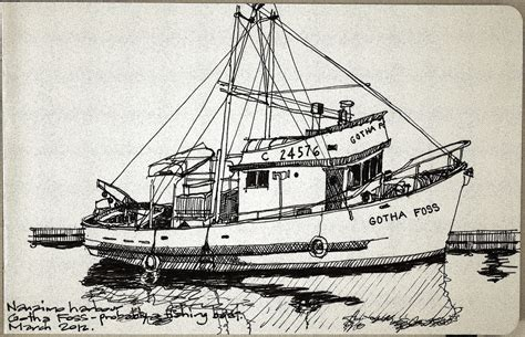 Boat Sketches by Nanaimo Fishing Boat Sketch Of A Fishing Boat In
