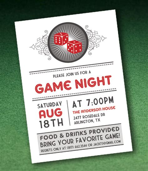 casino night invitation template  dice  print