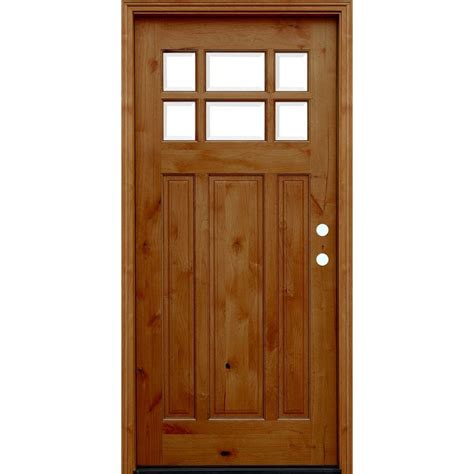 pacific entries 36 in x 80 in craftsman rustic 6 lite stained knotty alder wood prehung front