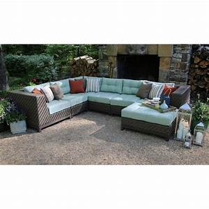Ae outdoor dawson 7 piece patio sectional seating set with for Outdoor sectional sofa sunbrella