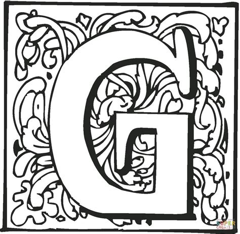 Letter G Coloring Page Letter G With Ornament Coloring Page Free Printable