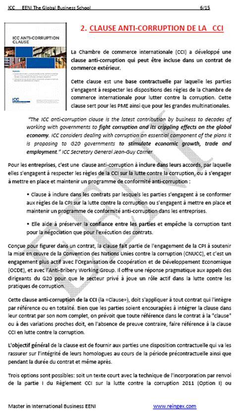 chambre internationale de commerce clause anticorruption chambre commerce internationale