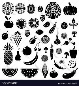 Silhouette of fruits and vegetables Royalty Free Vector