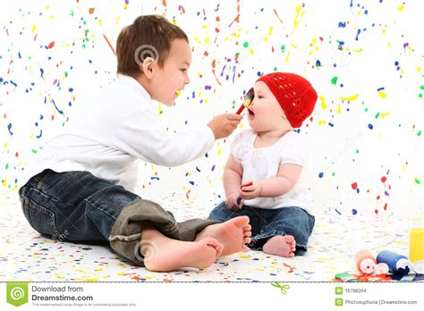 Boy Girl Child Painting Stock Images