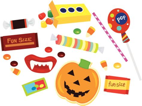 assorted fun size halloween candy stock illustration