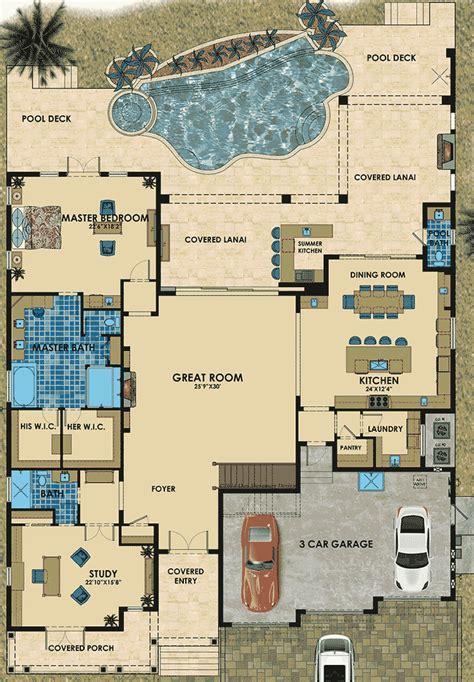 Florida House Plan with Six Bathrooms   31840DN   1st