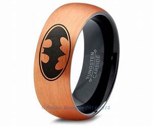 Batman tungsten wedding band ring mens womens brushed dome for Mens batman wedding ring