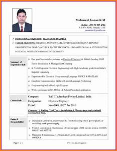 Standard Cv Format For Electrical Engineers