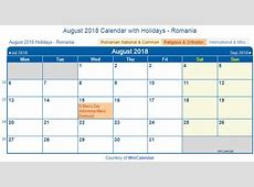 Print Friendly August 2018 Romania Calendar for printing
