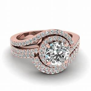 Swirl round diamond halo wedding ring set in 18k rose gold for 18k gold wedding ring set